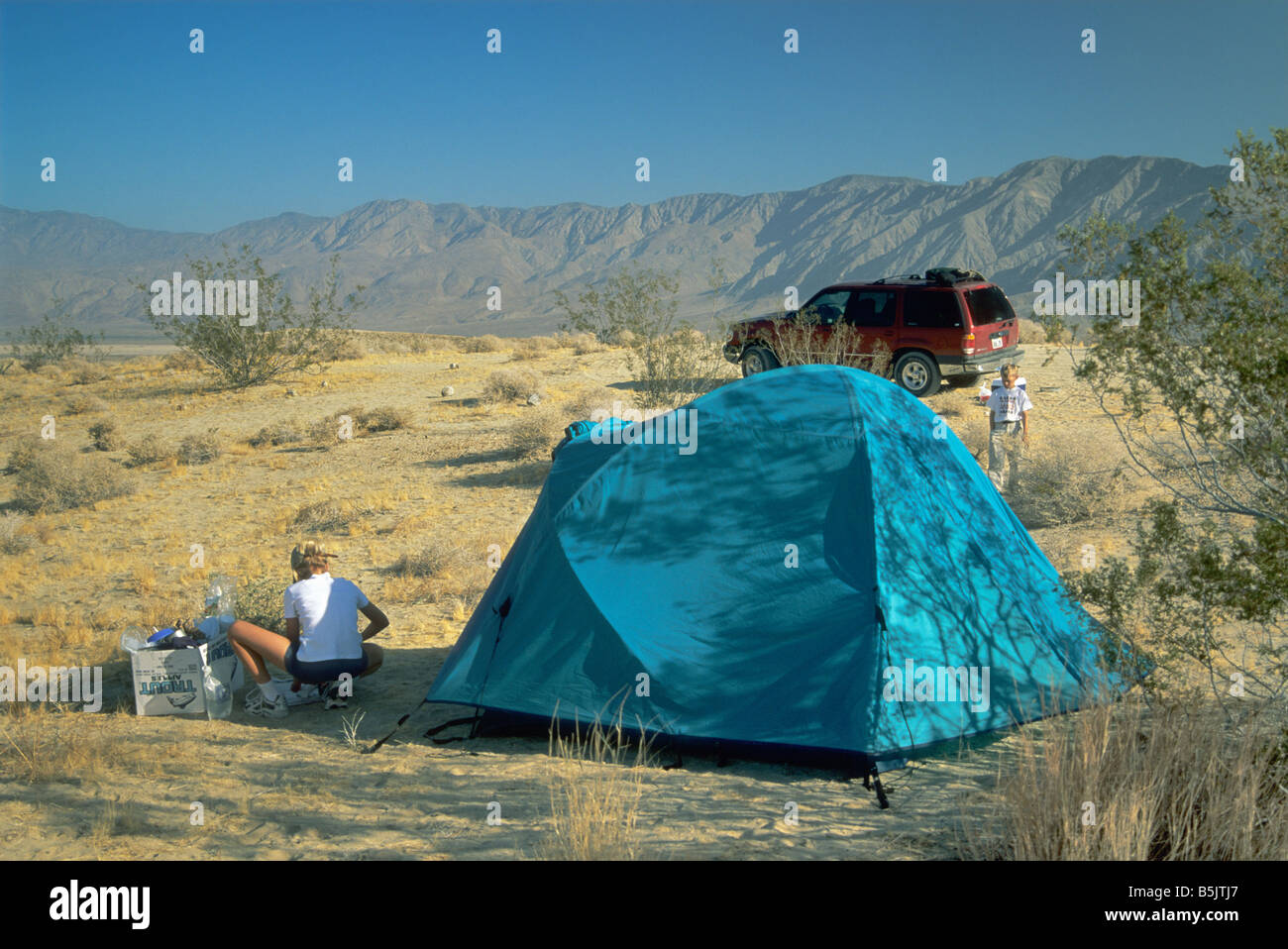 campsite at fonts point with santa rosa mts in distance at anza