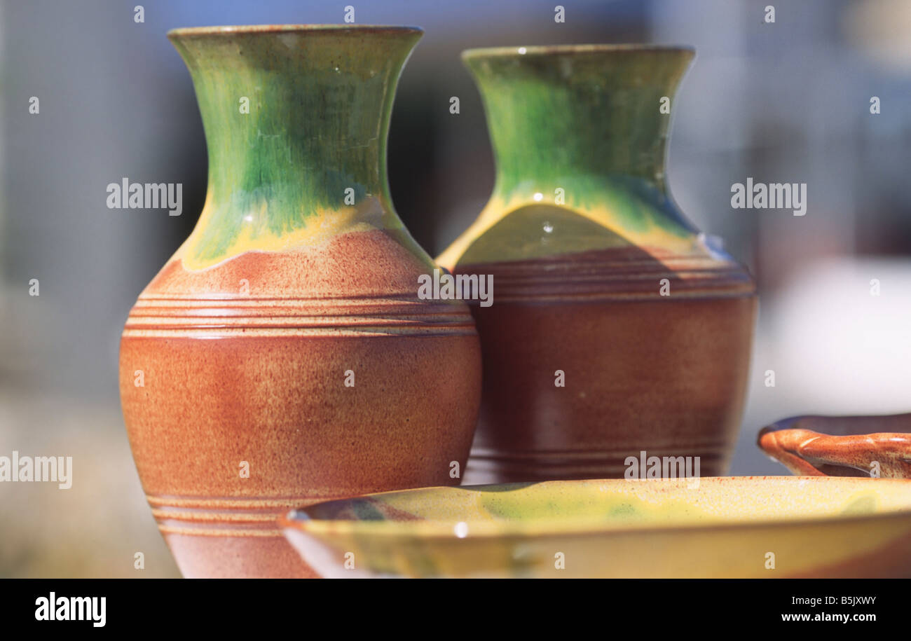 fired pottery on Crete Greece Stock Photo