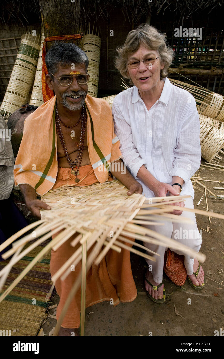 Celebrity granny Jane Fernley-Whittingstall with Mr Rajindra of self help group making bamboo mats and baskets at - Stock Image