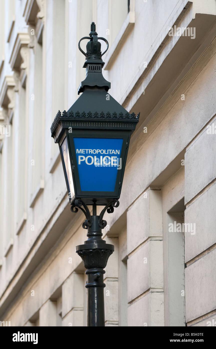 Blue lamp outside police station London England UK - Stock Image