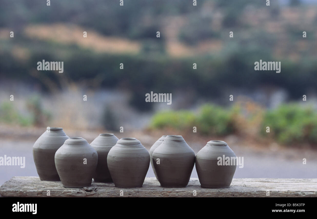 not fired pottery on Crete Greece Stock Photo