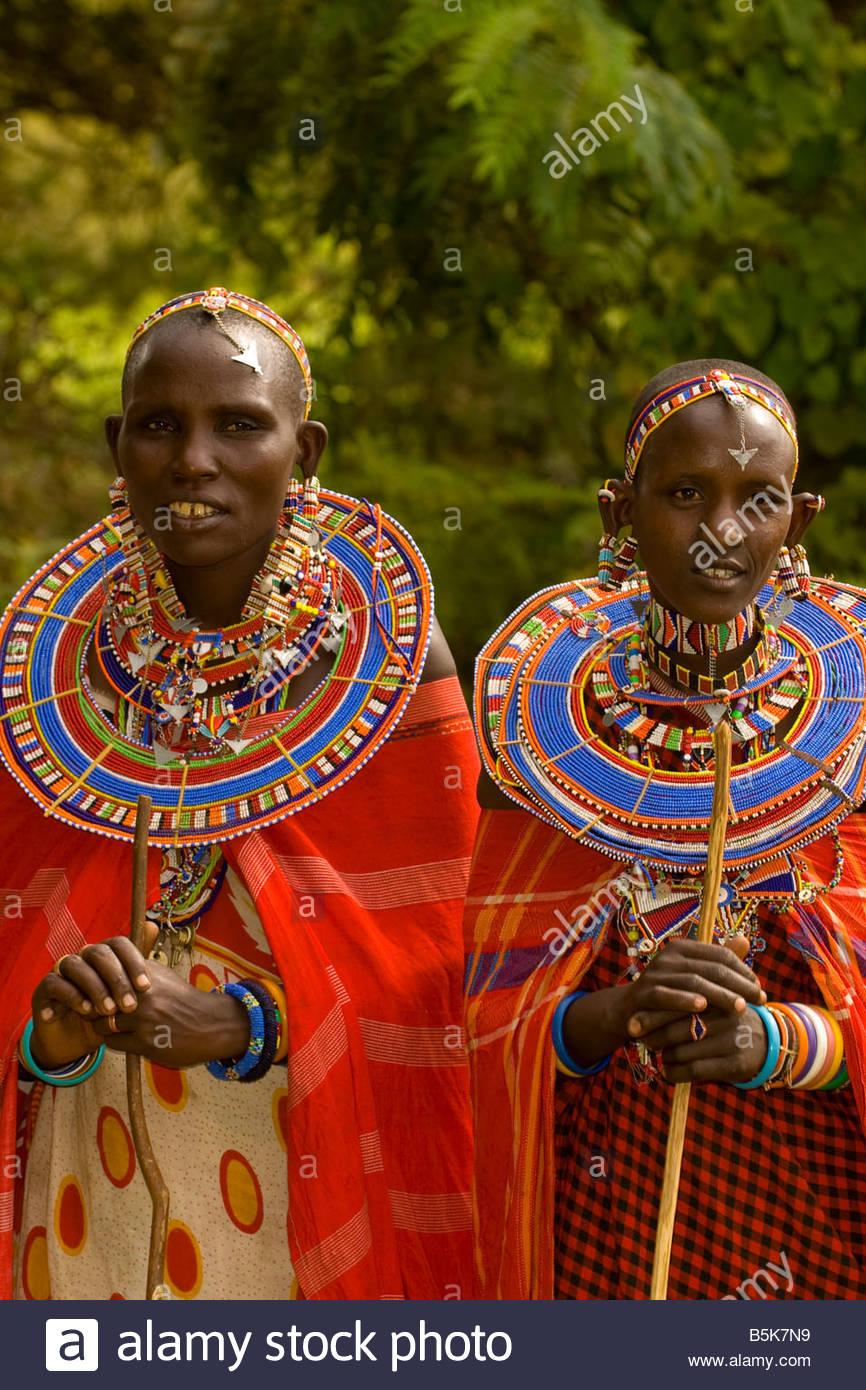 Maasai women Amboseli National Park Kenya - Stock Image