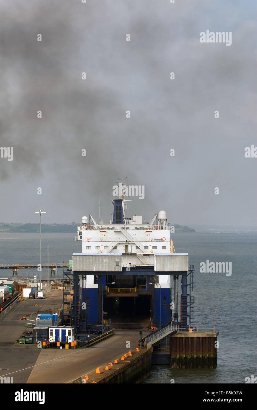 Stena Line Ro-Ro lorry ferry loading cargo at Harwich International Port, Essex, UK. - Stock Image