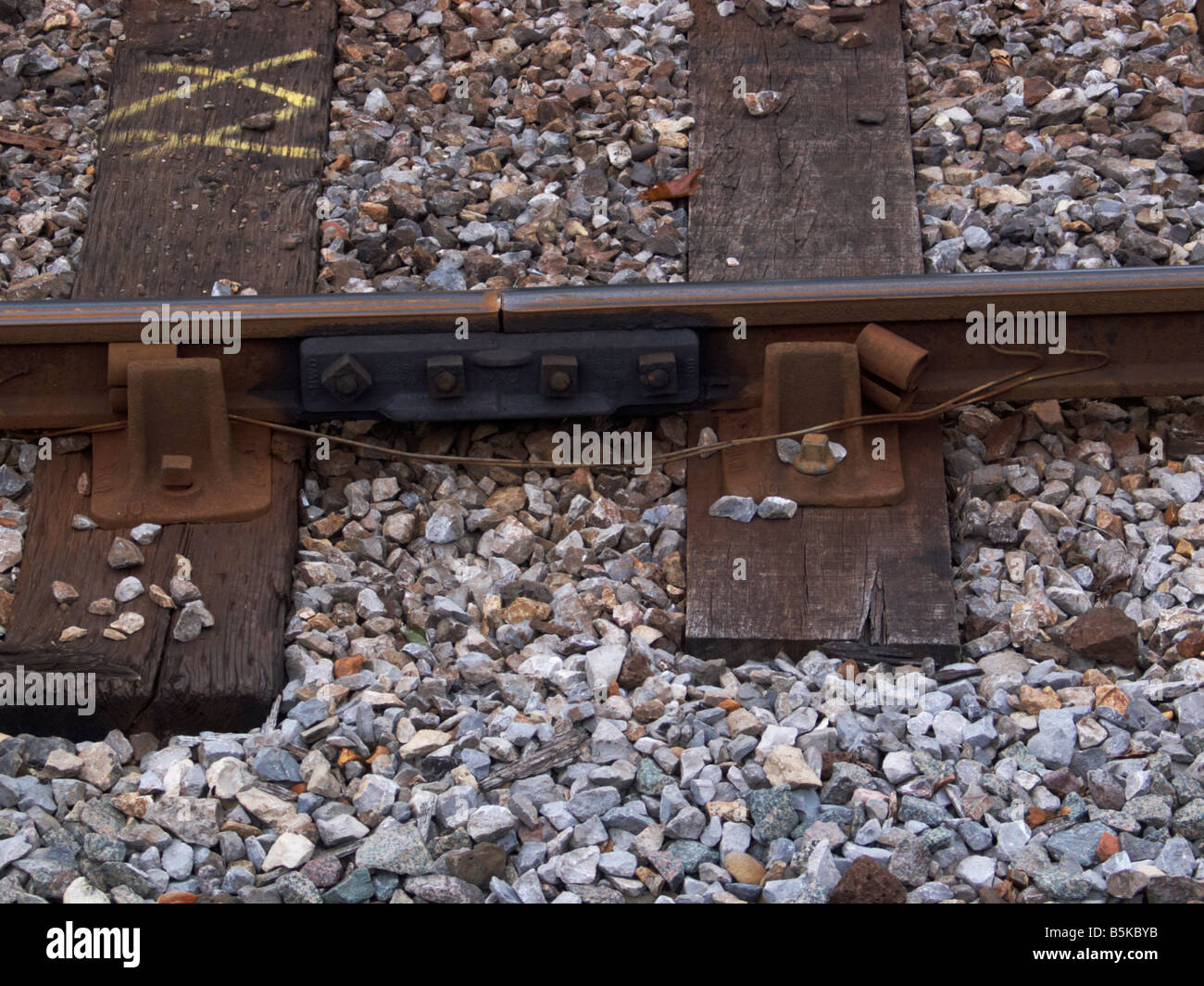 Bolted rail connection and chairs showing loosened sprung steel key. Rail plaque joint or fishplate at Bourne End. - Stock Image