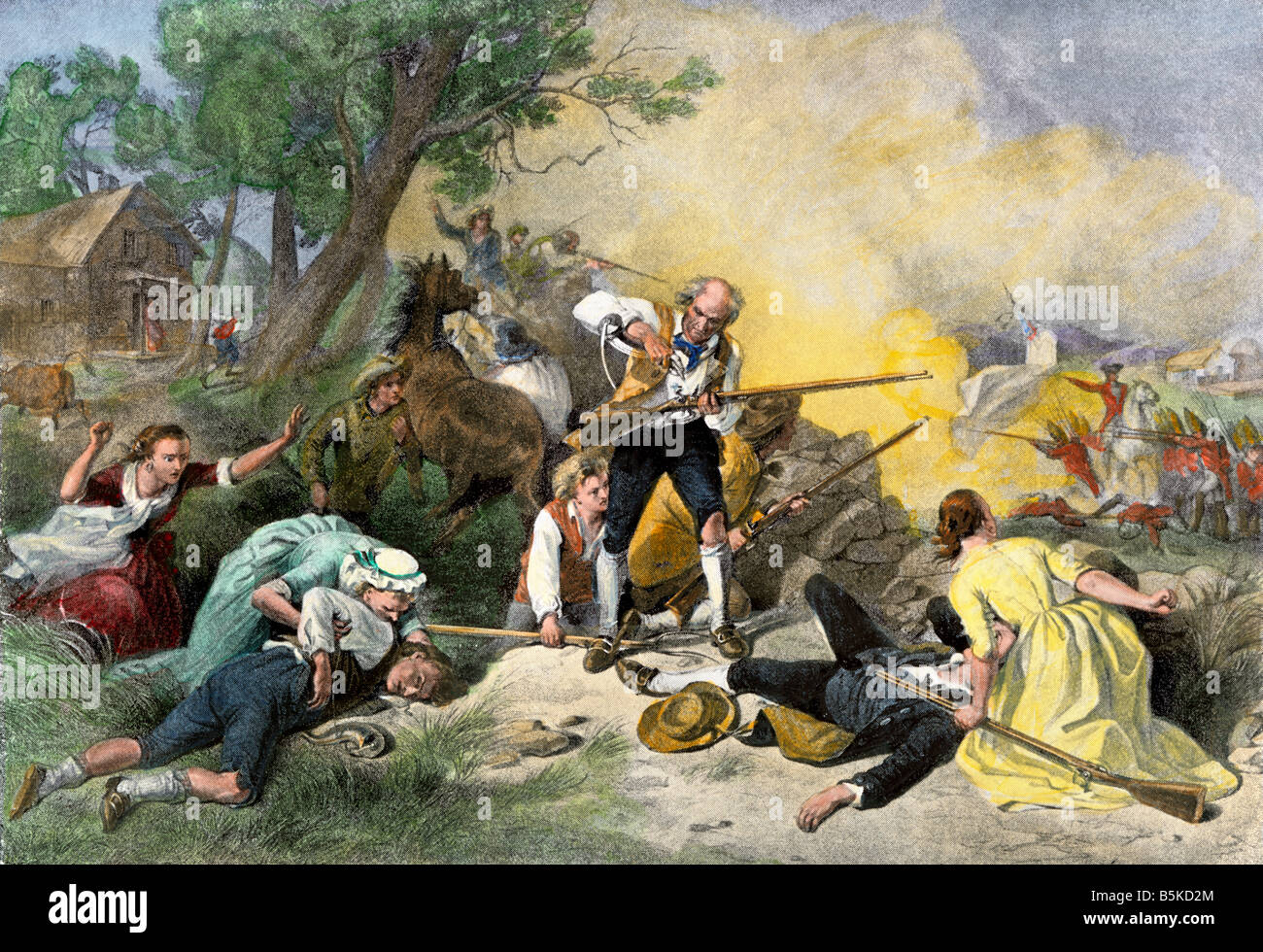 First blow for liberty: colonials harrassing British soldiers on the road from Concord 1775. Hand-colored halftone - Stock Image