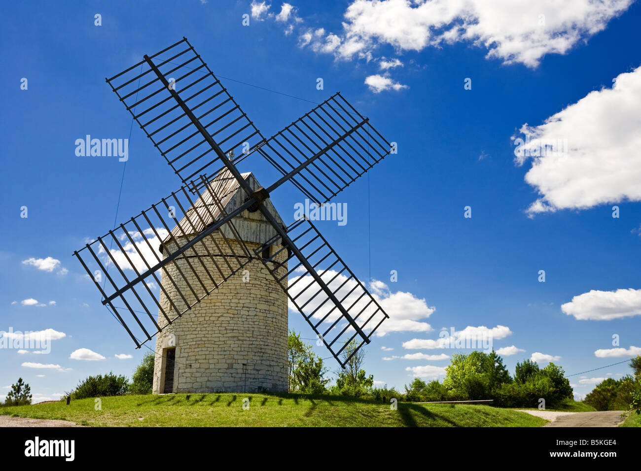 Traditional old French Windmill in the Lot region, Southern France, Europe Stock Photo