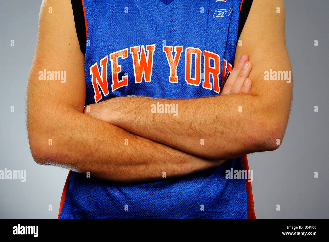 New York Arms Muscles Man Young Youth Tanned Caucasian America Stock
