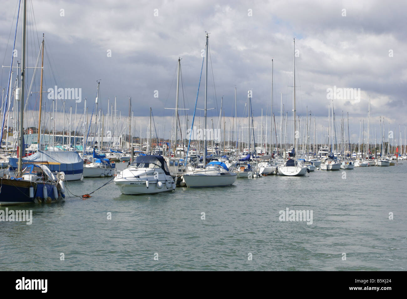 Yachts in Lymington Marina Taken April Lymington Hampshire UK - Stock Image