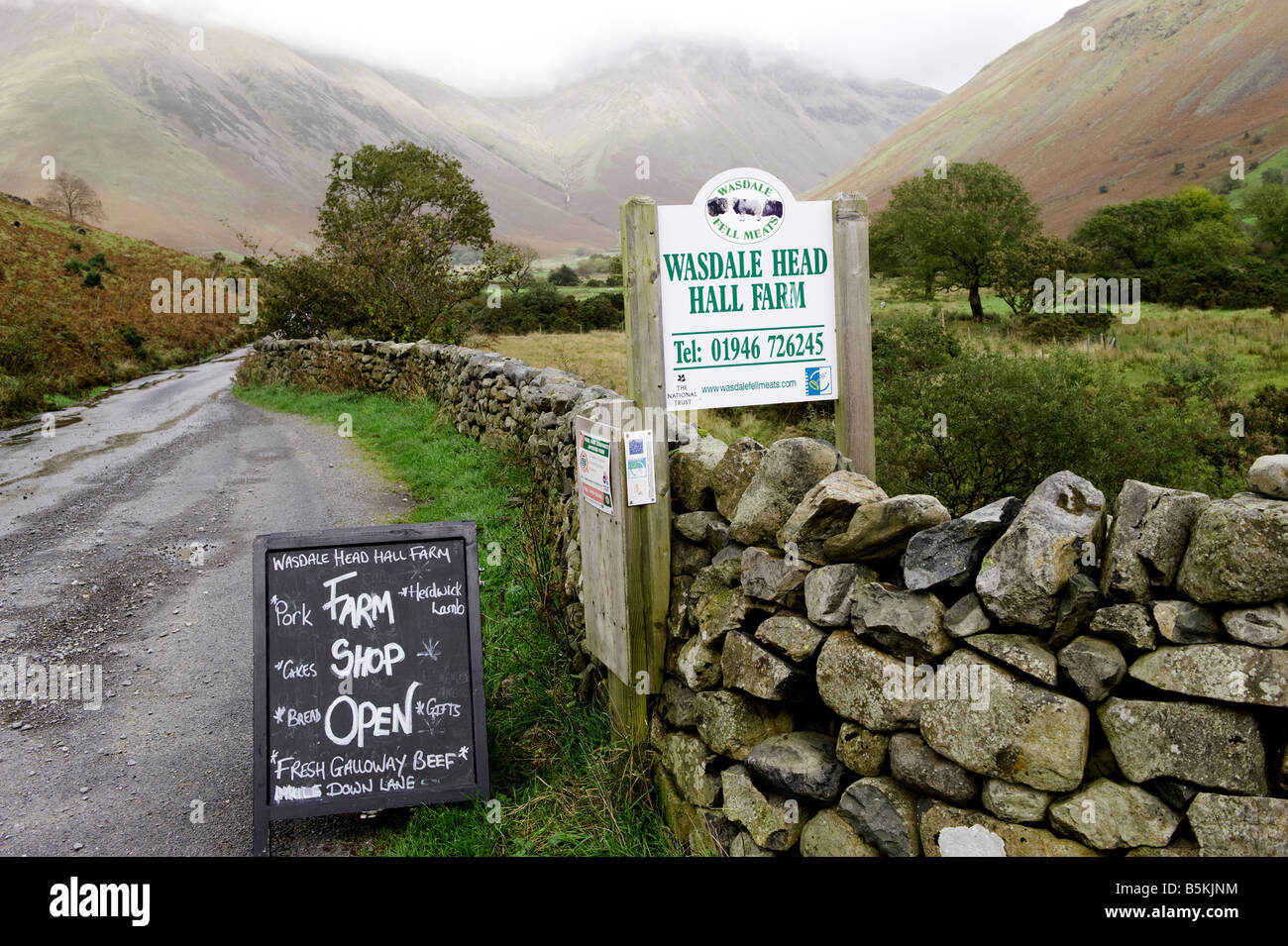 Sign for farm shop at end of farm lane in Wasdale English Lake District - Stock Image