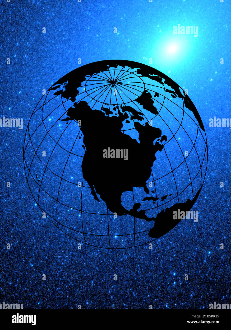 vector illustration of globe and Western Hemisphere composited on starry sky - Stock Image
