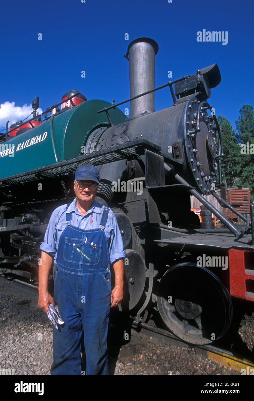 1, one, train fireman, fireman, train engineer, engineer, Black Hills Central Railroad, Hill City, Black Hills, - Stock Image