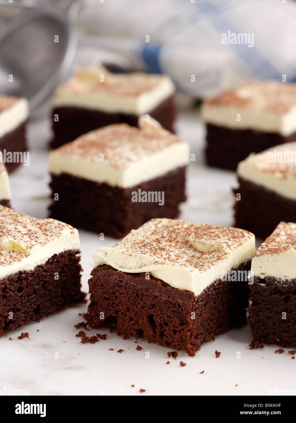 Chocolate brownies traditional American cookies editorial food - Stock Image