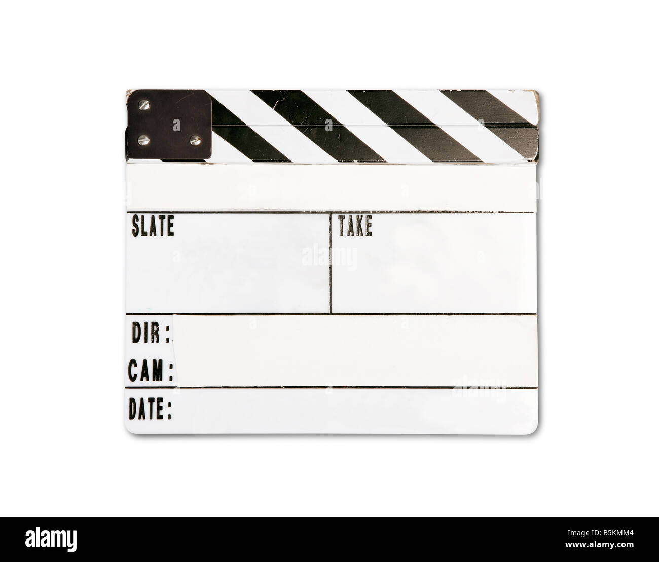 Real clap board with wear and tear isolated on white background - Stock Image