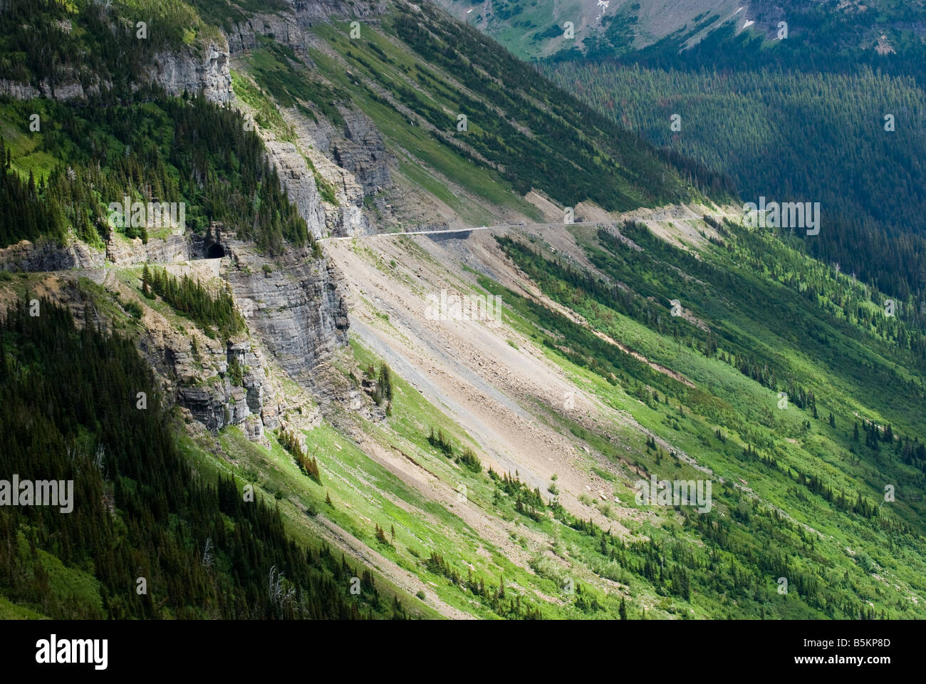 Going to the Sun road and tunnel west of Logan Pass Glacier National Park Montana - Stock Image