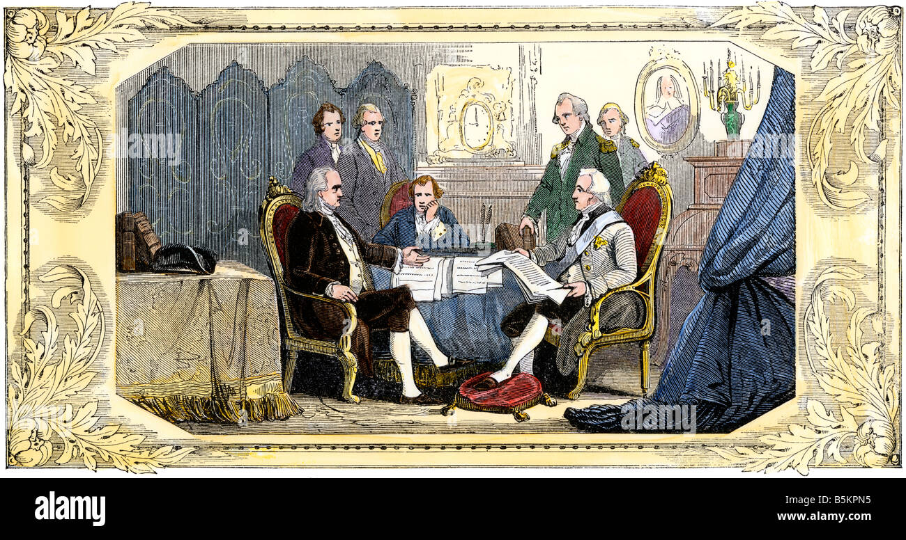 American and French representatives signing a Treaty of Alliance at Paris American Revolution. Hand-colored woodcut - Stock Image