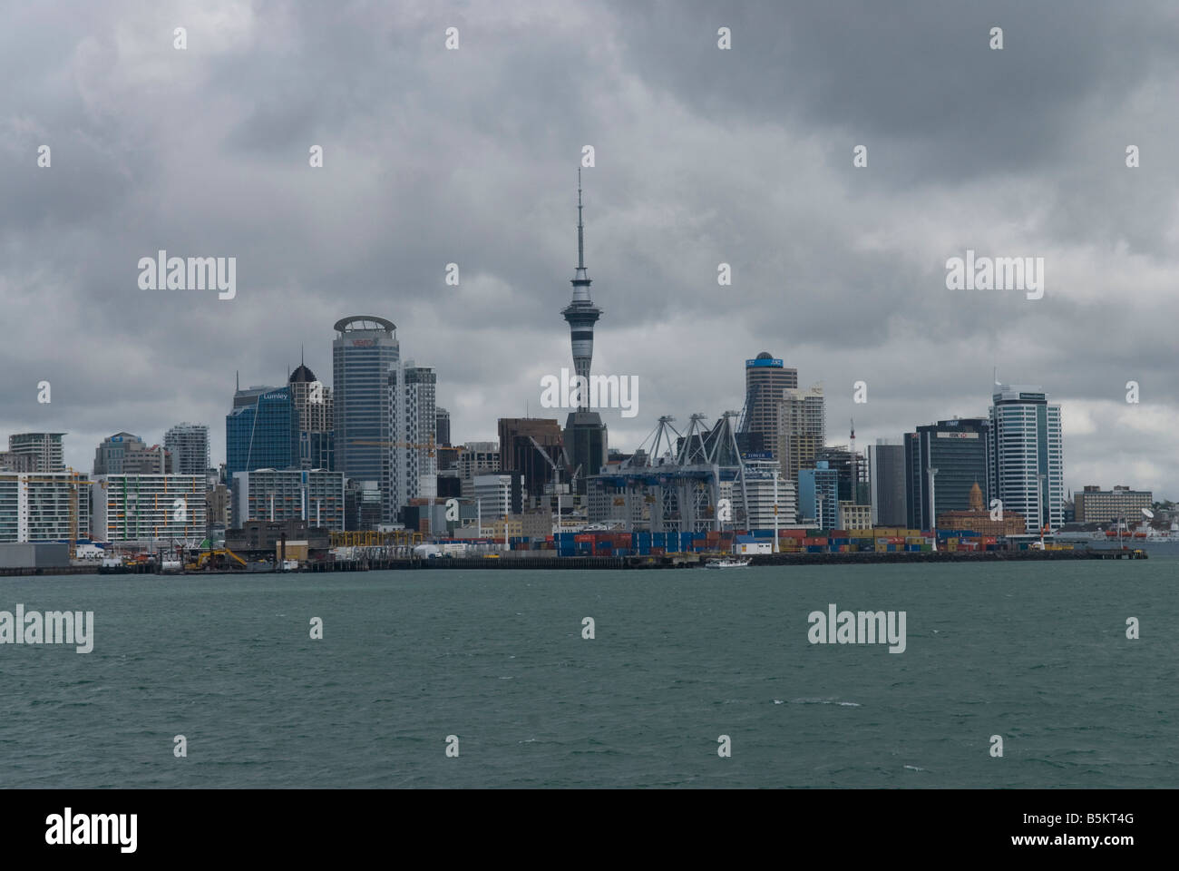 Auckland skyline seen from the harbour. - Stock Image