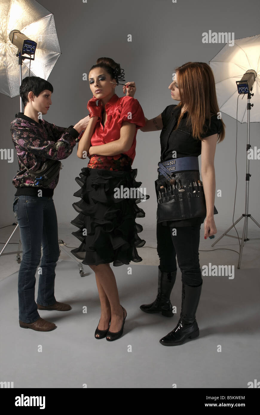 Professionals on fashion shooting set Stock Photo