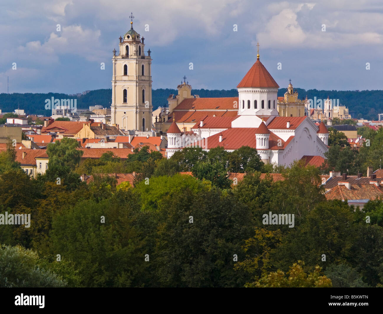 Baltic States, Lithuania, Vilnius, elevated city view Russian Orthodox church the Holy Mother of God - Stock Image