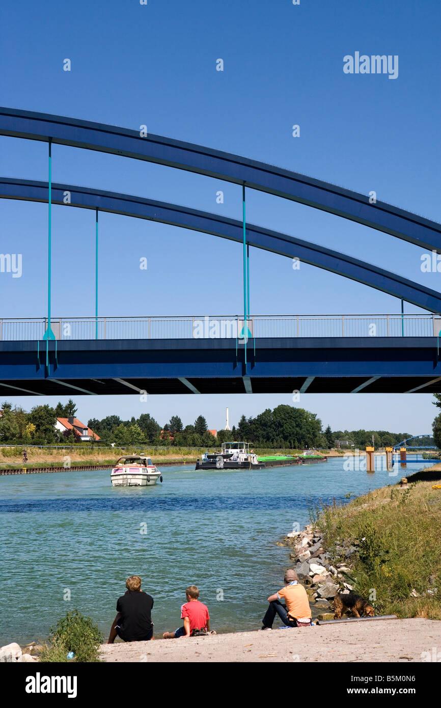 Dortmund Ems Canal Muensterland North Rhine Westphalia Germany - Stock Image