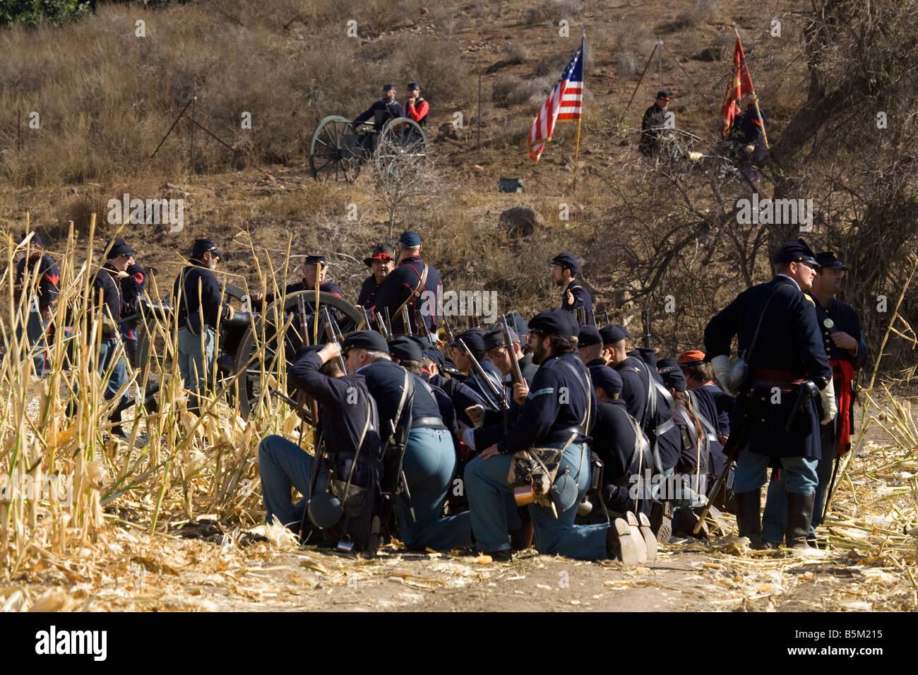 Union Soldiers in American Civil War Reenactment - Stock Image