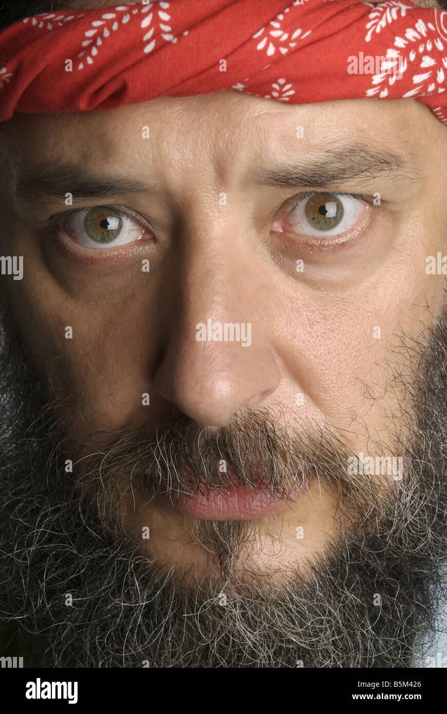 Man with long hair and beard. - Stock Image