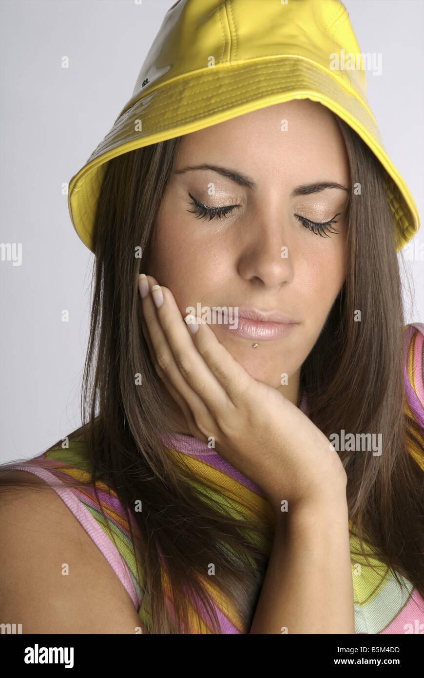 Female brunette with long hair. - Stock Image