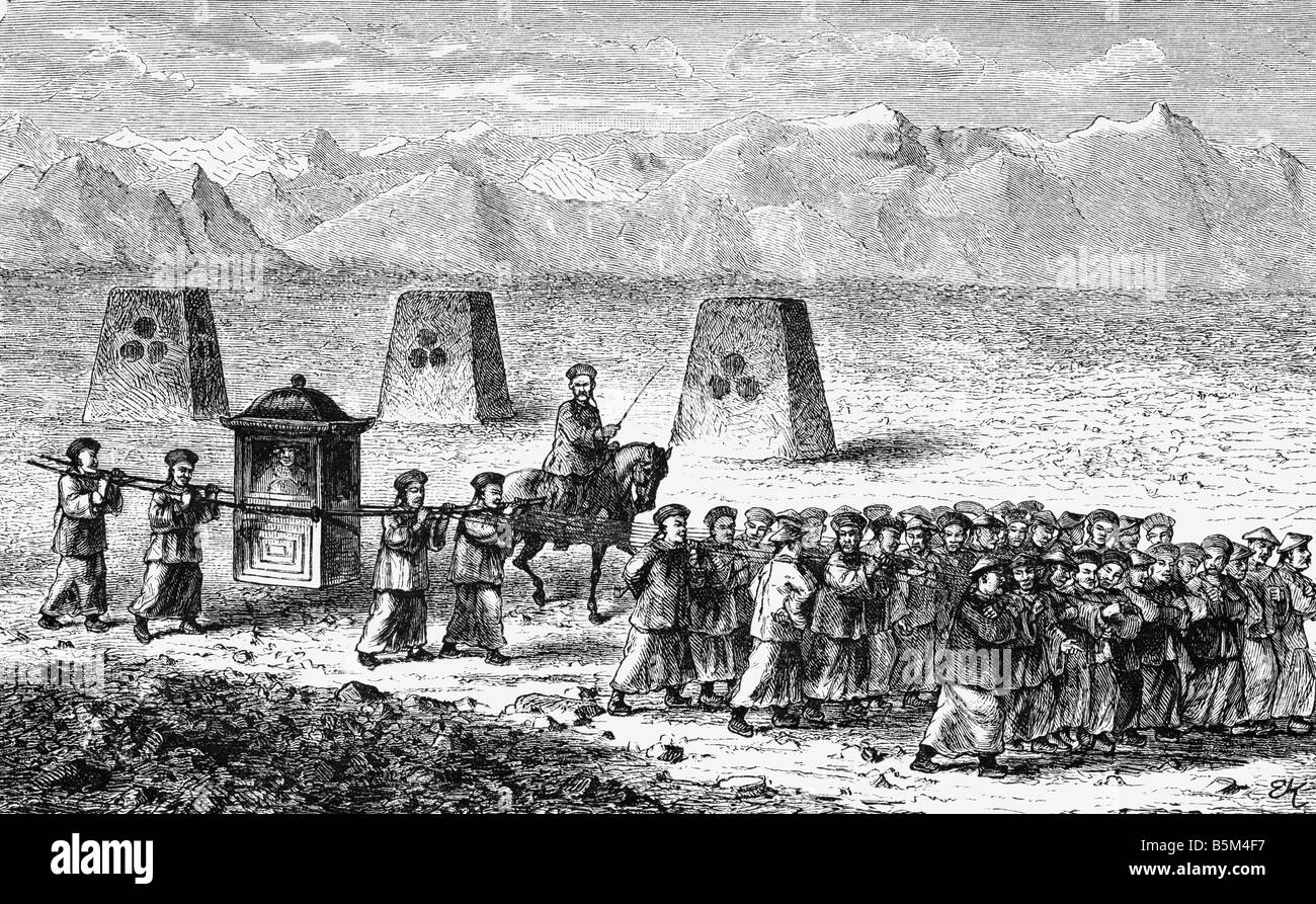 geography / travel, China, people, travelling mandarin, 2nd half of the 19th century, coeval wood engraving, voyage, - Stock Image