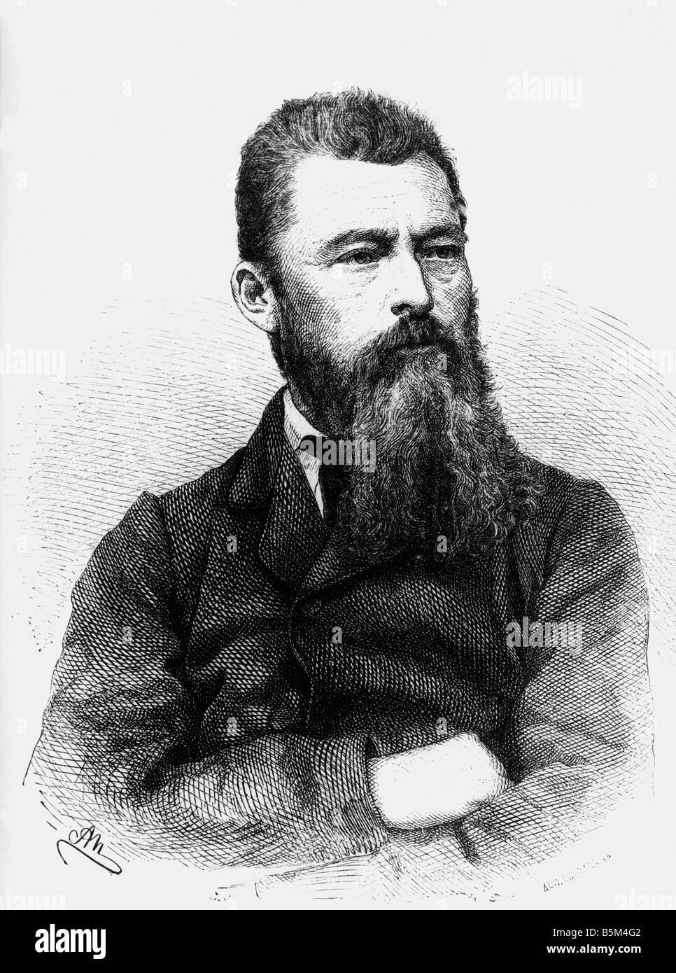 Feuerbach, Ludwig, 28.7.1804 - 13.9.1872, German philosopher, wood engraving, 1872, Additional-Rights-Clearances - Stock Image