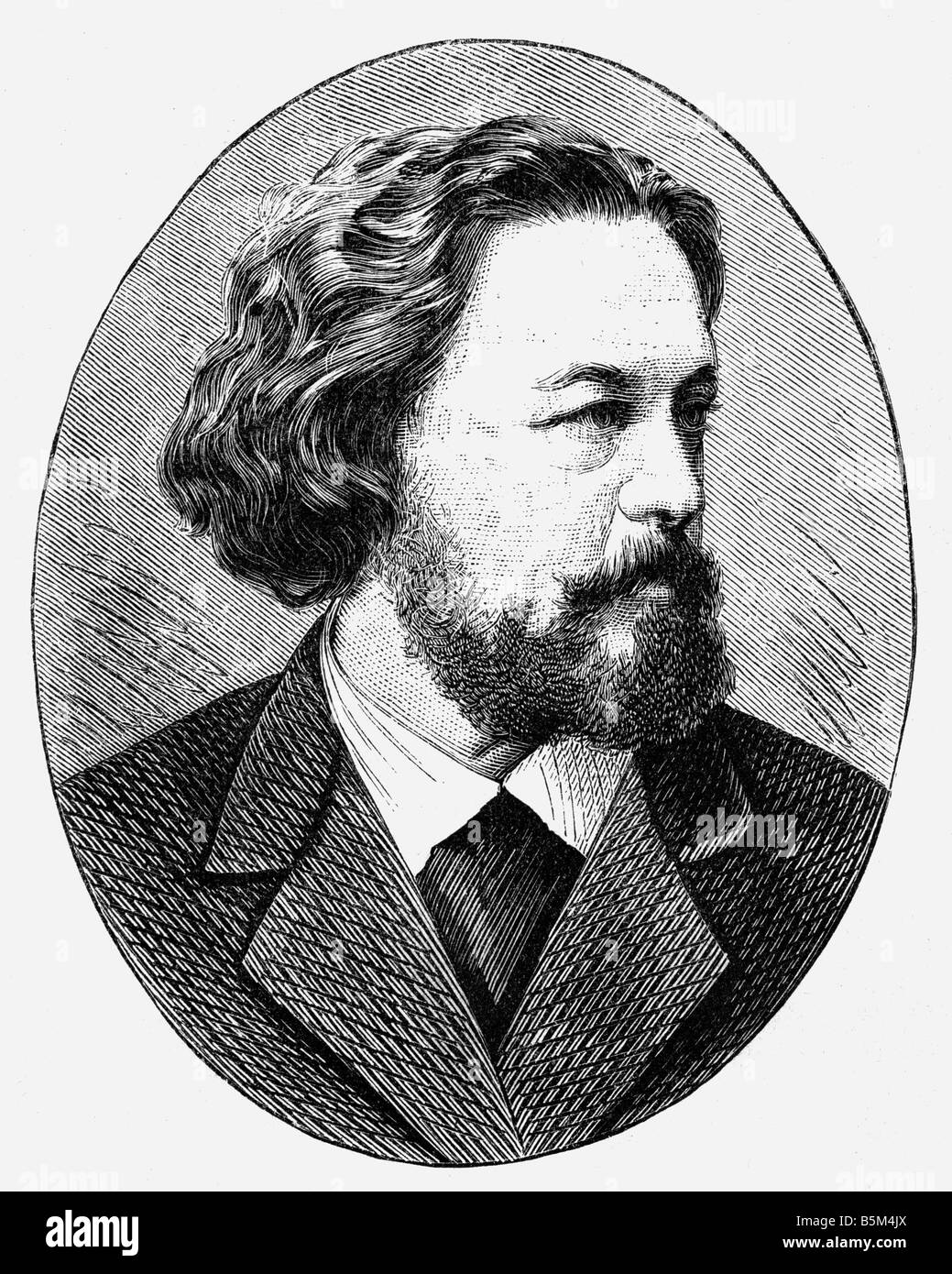 Heyse, Paul, 15.3.1830 - 2.4.1914, German author/writer, portrait, wood engraving, 19th century, Additional-Rights - Stock Image
