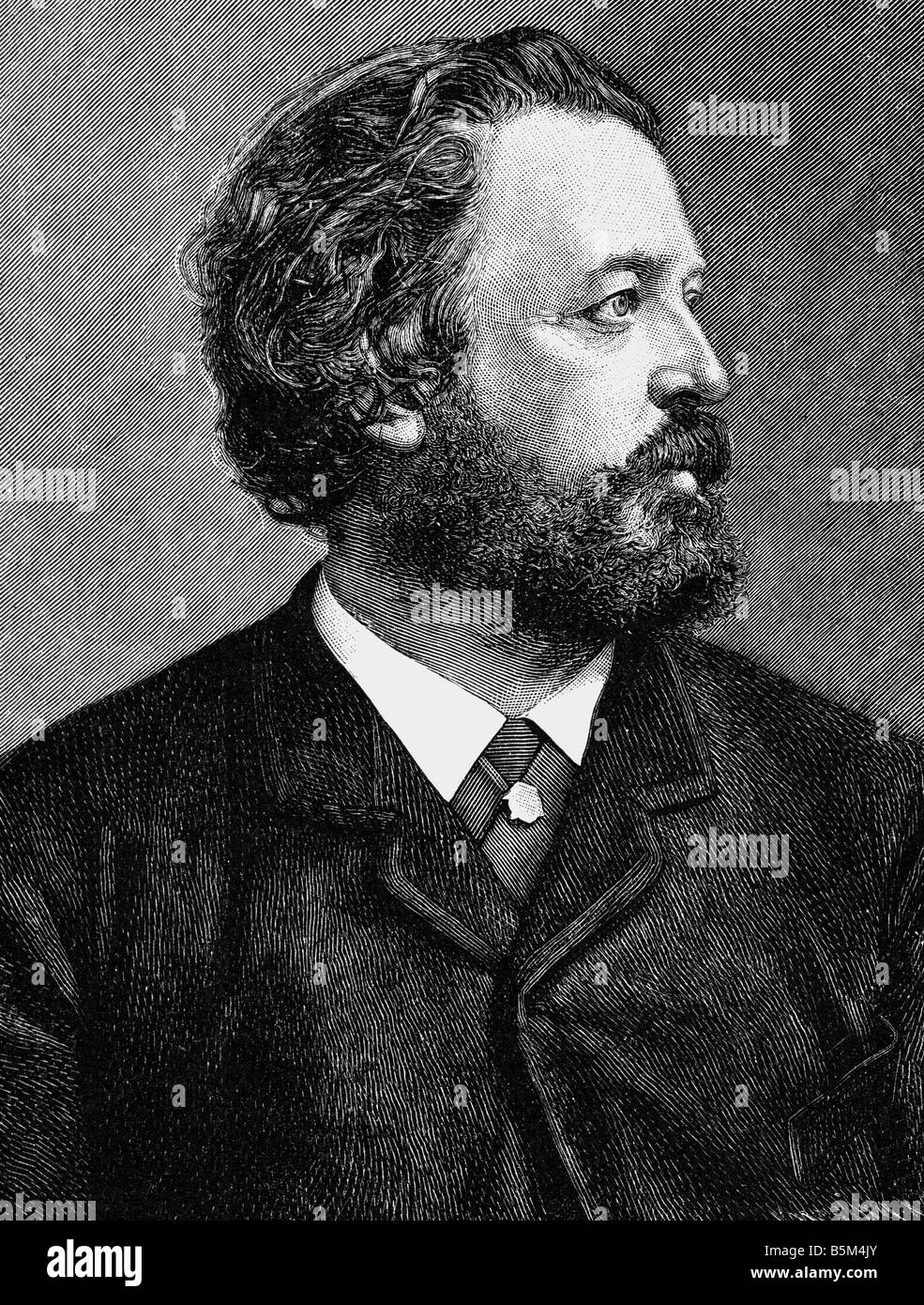 Heyse, Paul, 15.3.1830 - 2.4.1914, German author/writer, portrait, wood engraving, Additional-Rights-Clearances - Stock Image