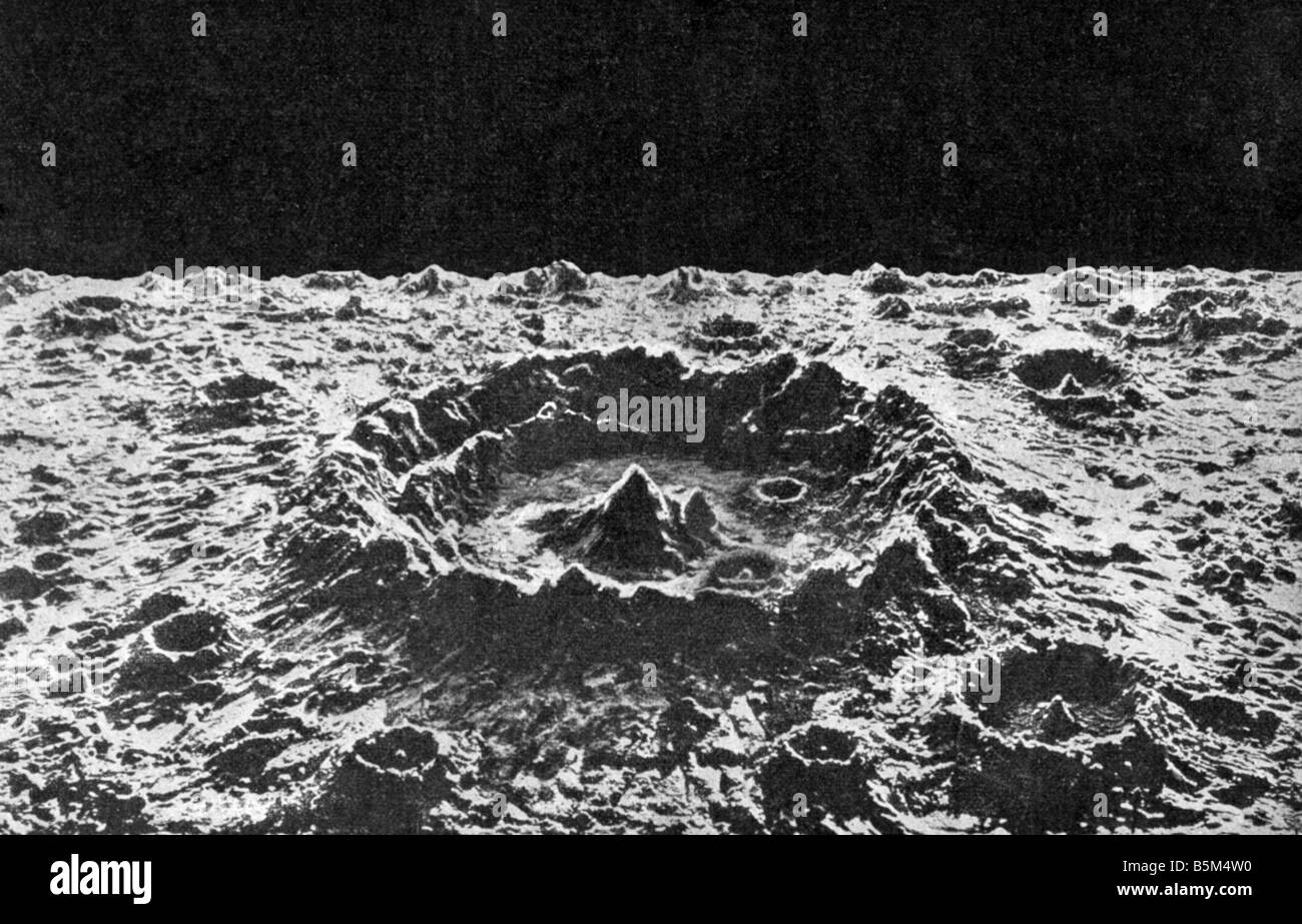 astronomy, moon, landscape, normal crater, 'The Moon: Considered as a Planet, a World, and a Satellite' - Stock Image