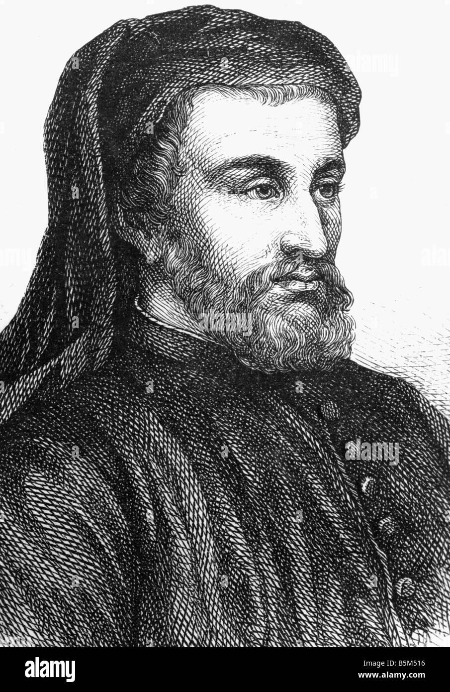 Chaucer, Geoffrey, circa 1340 - 25.10.1400, English auhtor / writer,  portrait, wood engraving, 19th century, , - Stock Image