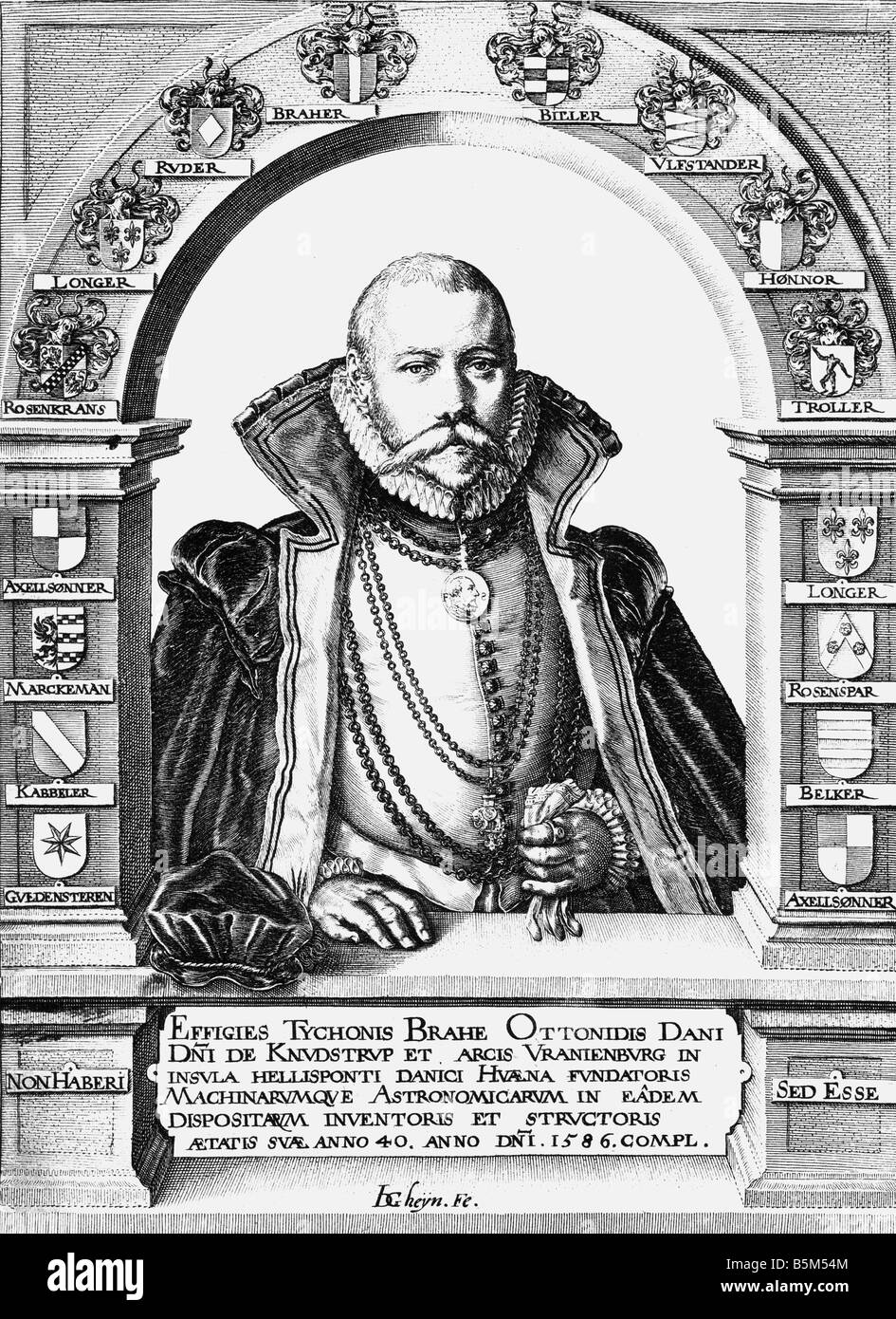 Brahe, Tycho, 14.12.1546 - 24.10.1601, Danish astronomer, at the age of fourty, half length, copper engraving by - Stock Image