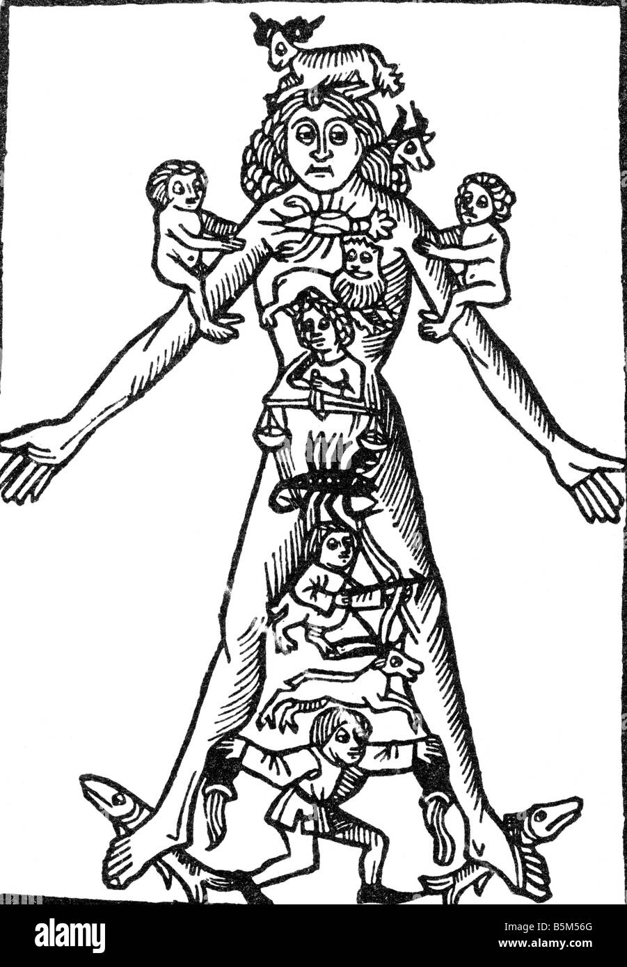astrology, zodiac man, woodcut, circa 1600, Additional-Rights-Clearances-NA - Stock Image