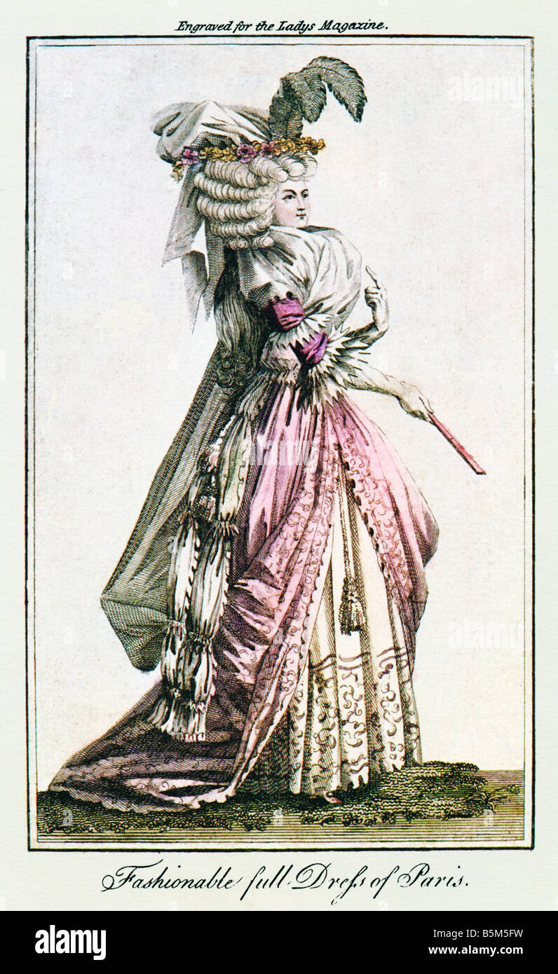 Fashionable Full Dress of Paris 1789 colour print from the English Ladys Magazine copied from the French Cabinet - Stock Image