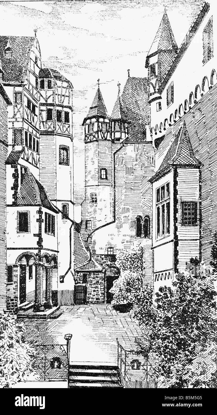 architectur, castles, Germany, Rhineland-Palatinate, Eltz Castle, court, wood engraving after drawing by Hermann - Stock Image
