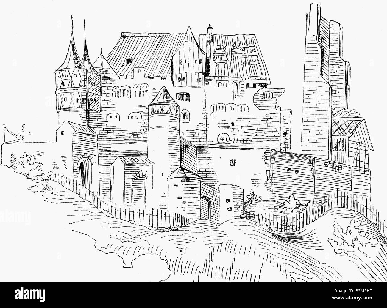geography / travel, Germany, Weinsberg, Weibertreu Castle, exterior view, after being conquered by Ulrich of Wuerttemberg, - Stock Image