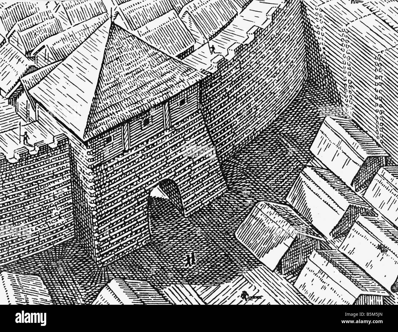 architecture, castles, details, gate of a Slavic castle, 10th century, reconstruction, wood engraving, 19th century, - Stock Image