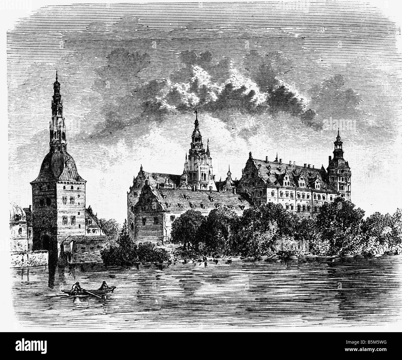 architecture, castles, Denmark, Frederiksborg Palace, exterior view in the 17th century, wood engraving, 19th century, - Stock Image