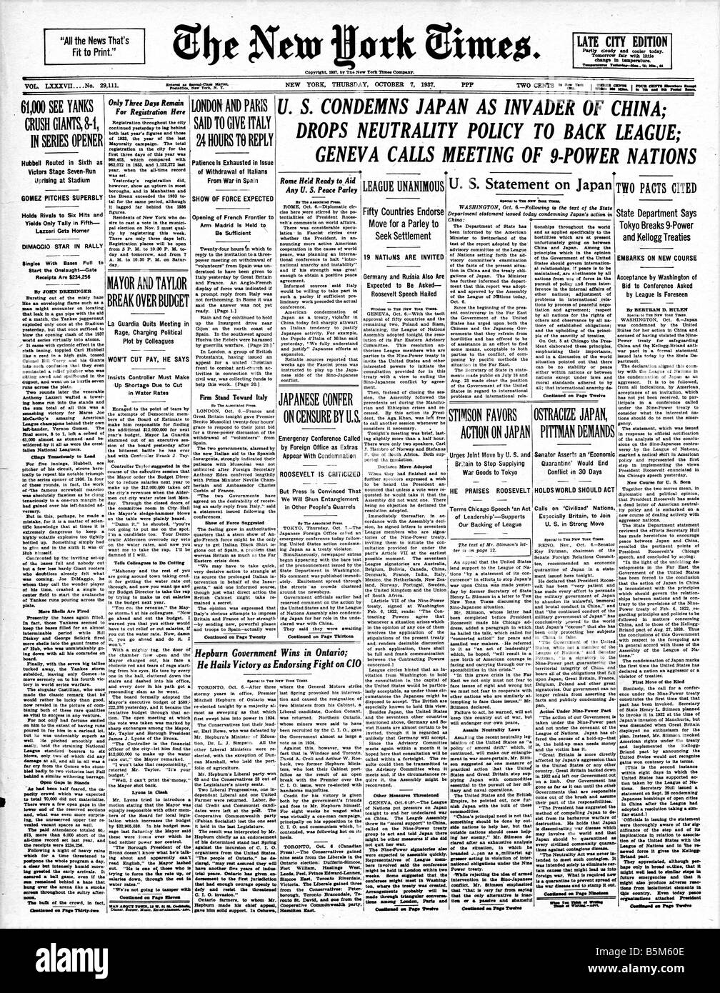 Japan Invades China 1937 headline from the New York Times of October 7th when Japan invaded China - Stock Image