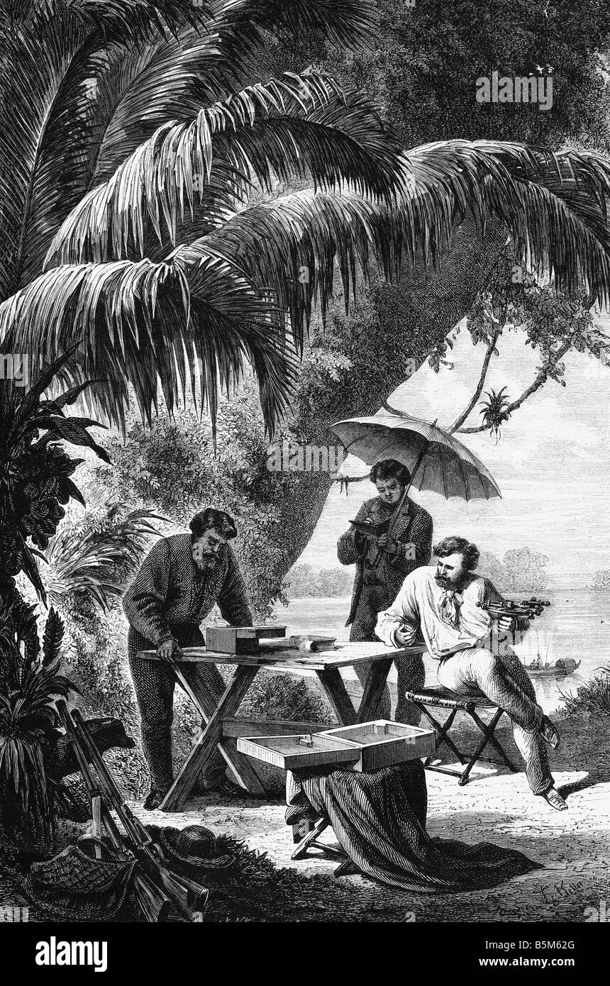 astronomy, astronomers, preparing a astronomical observation in Brazil, wood engraving aftewr drawing by Franz Keller - Stock Image