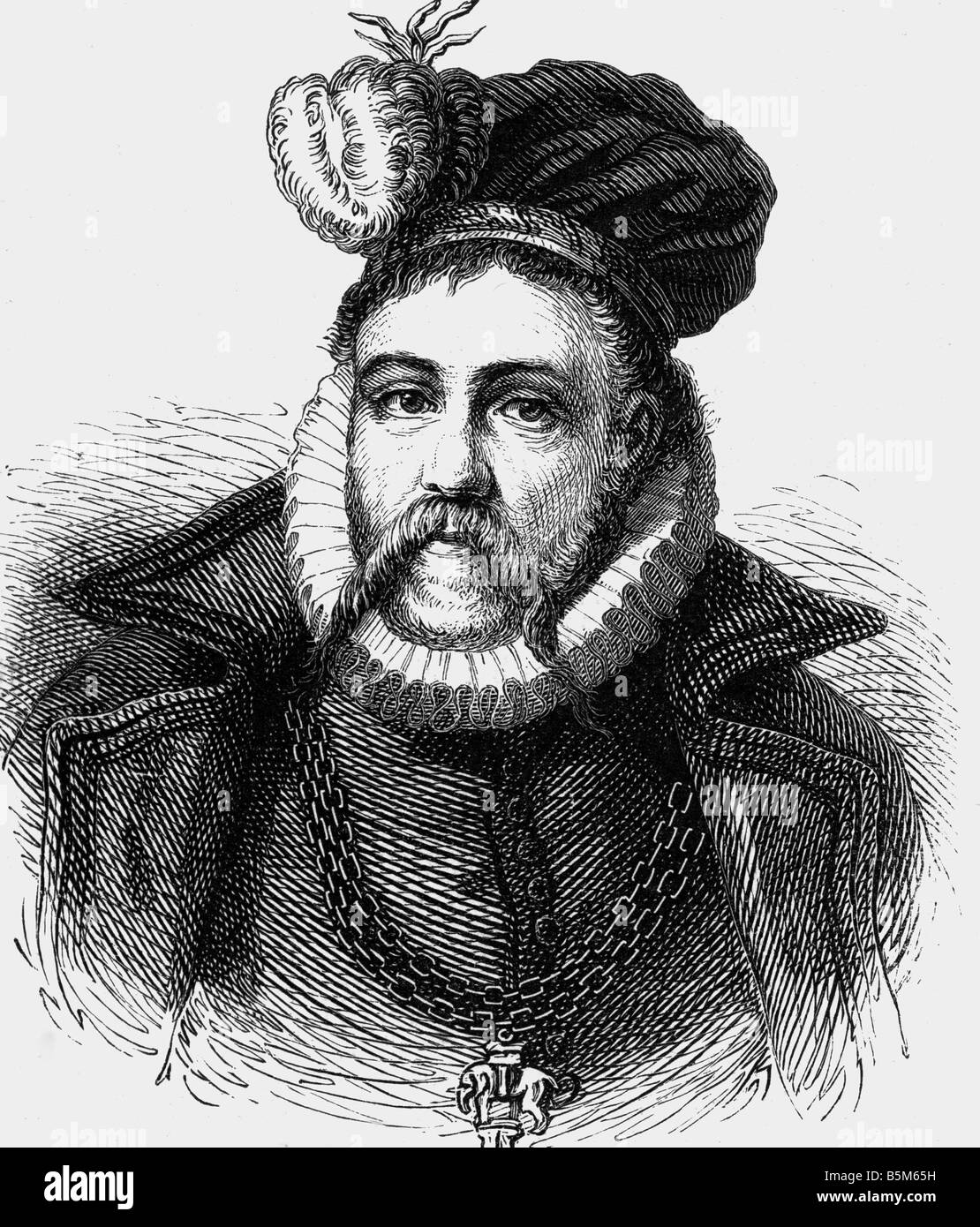 Brahe, Tycho, 14.12.1546 - 24.10.1601, Danish astronomer,    portrait, wood engraving, 19th century, , Additional - Stock Image