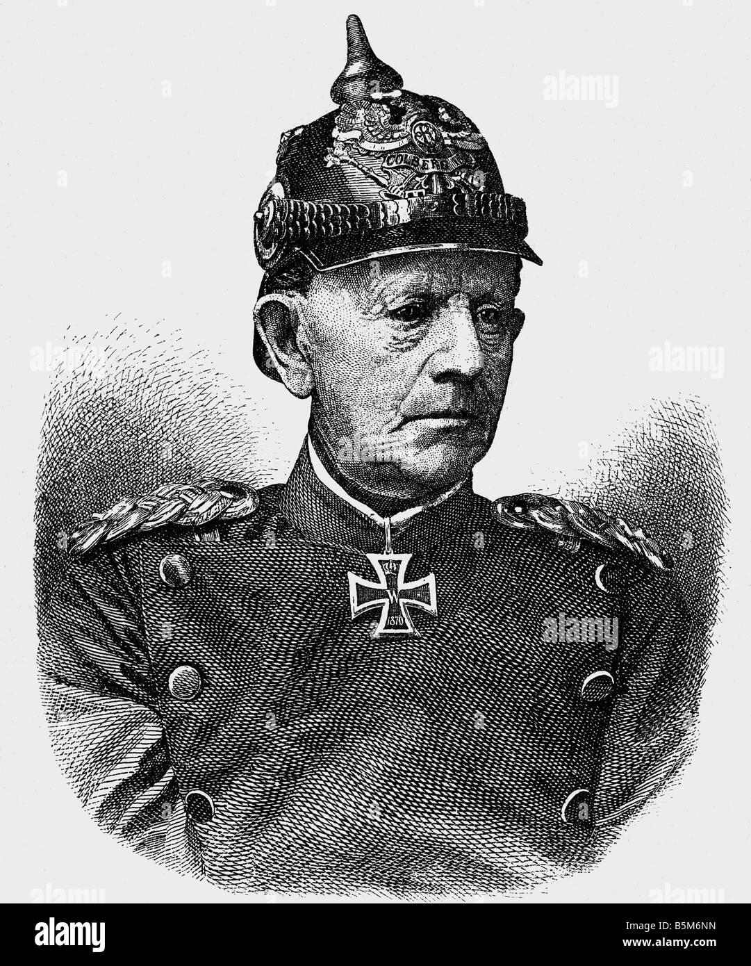 Moltke, Helmuth Karl von, 26.10.1800 - 24.4.1891, Prussian general, Chief of General Staff 1858 - 1888, portrait, - Stock Image