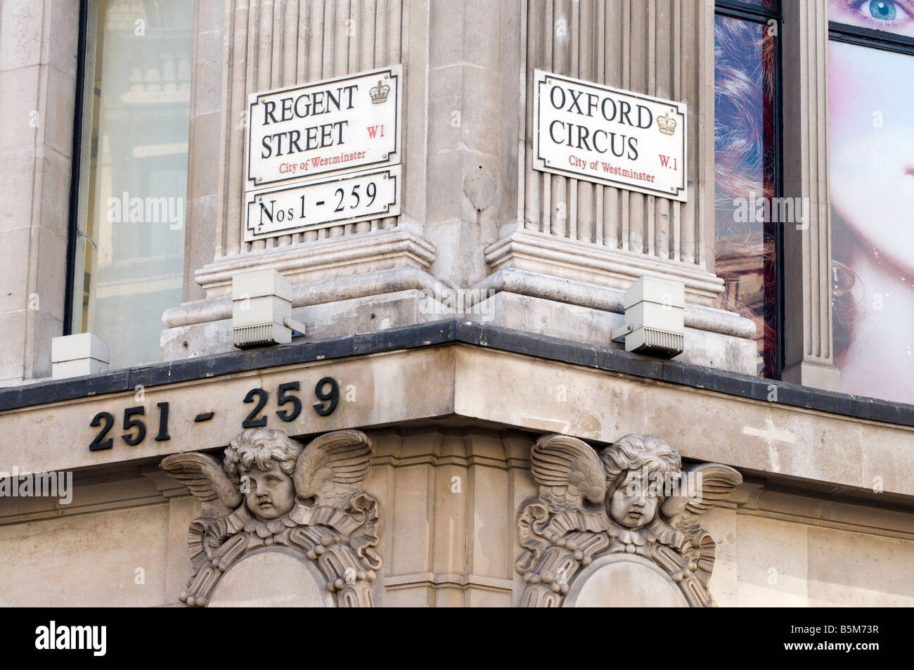 Street signs at corner of Regent Street and Oxford Circus, London England UK - Stock Image