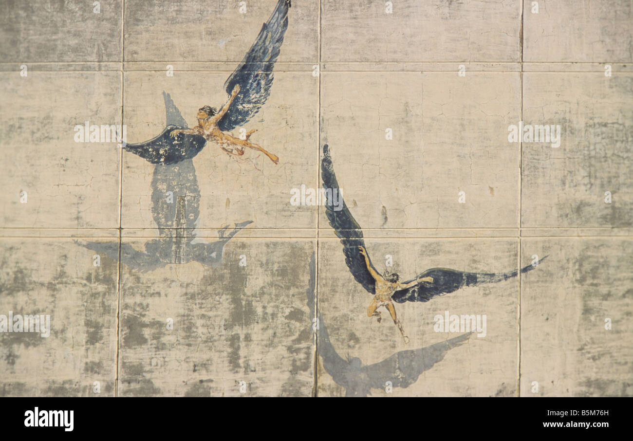 Ikarus and Daedalus on the wall of the custom office Heraklion Crete Greece - Stock Image