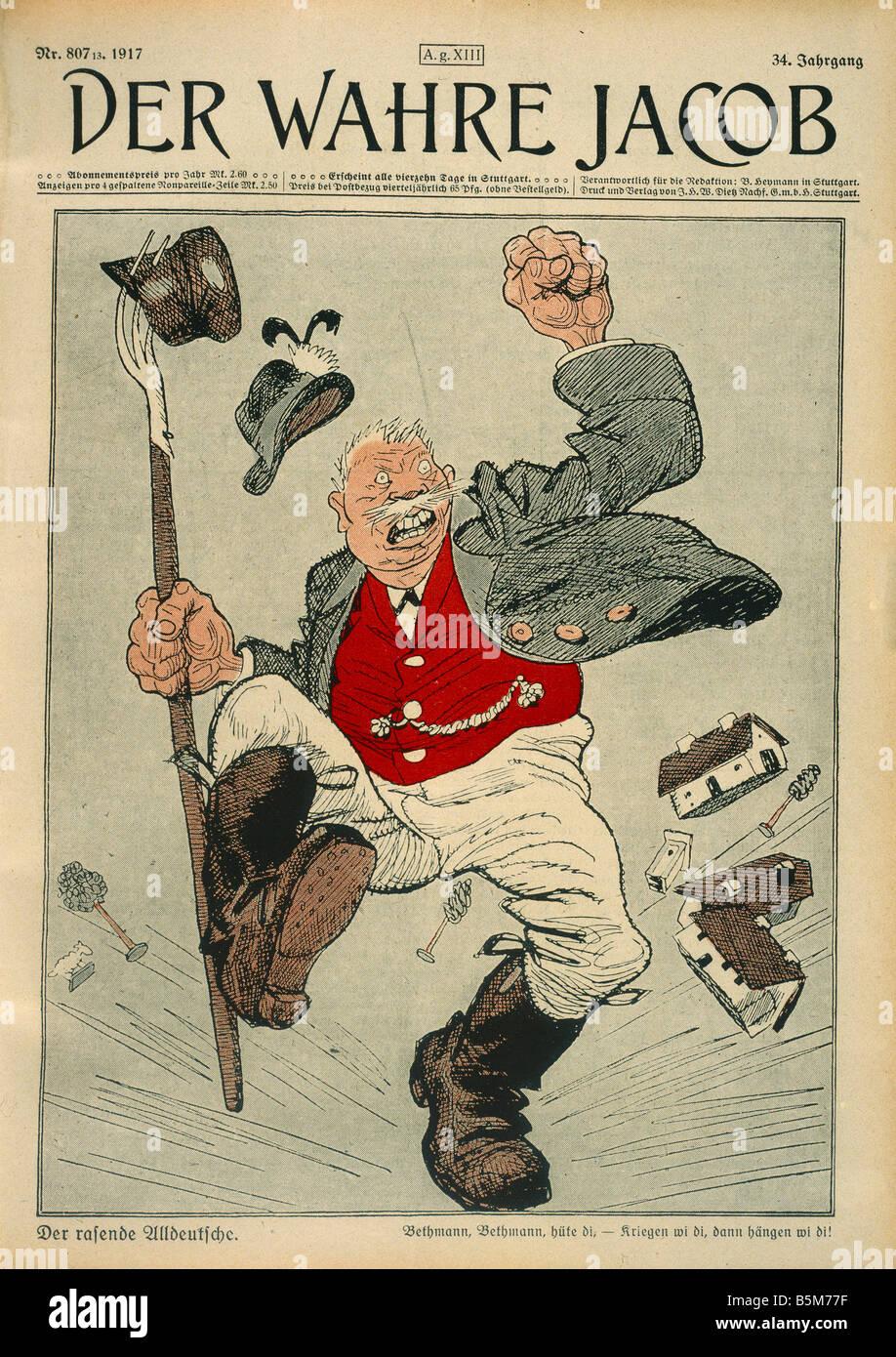 1 C297 G1917 Heinrich Class Caricature 1917 Class Heinrich Politician chairman of Alldeutscher Verband All German - Stock Image