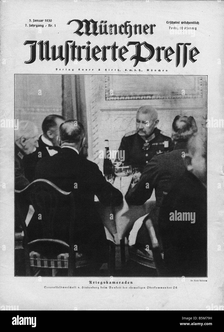 1 H73 F1929 15 Hindenburg at banquet of Supreme Command Hindenburg Paul von Reich President 1925 34 1847 1934 War - Stock Image