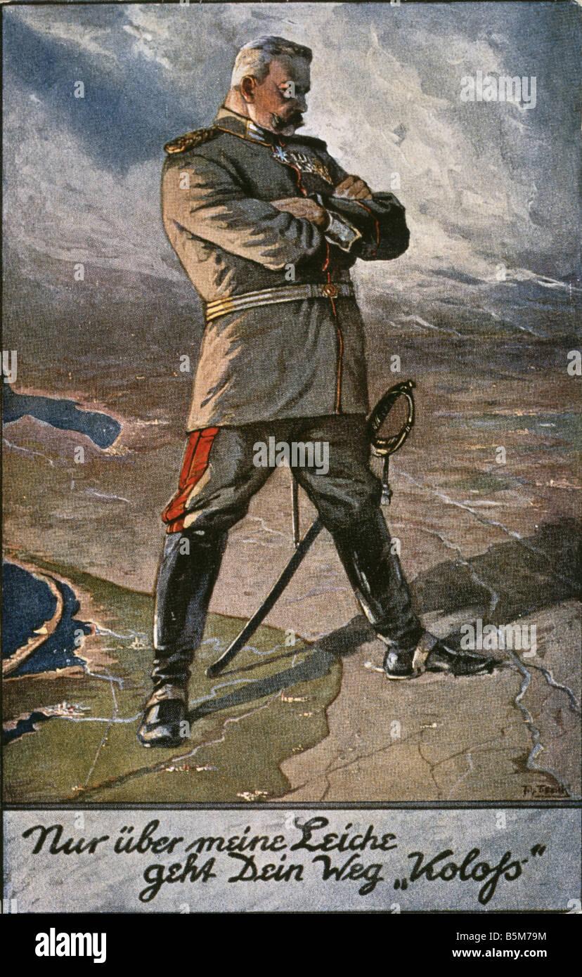 1 H73 G1915 2 Hindenburg as Conqueror Propaganda Hindenburg Paul von Field marshal 1847 1934 Nur ueber meine Leiche - Stock Image