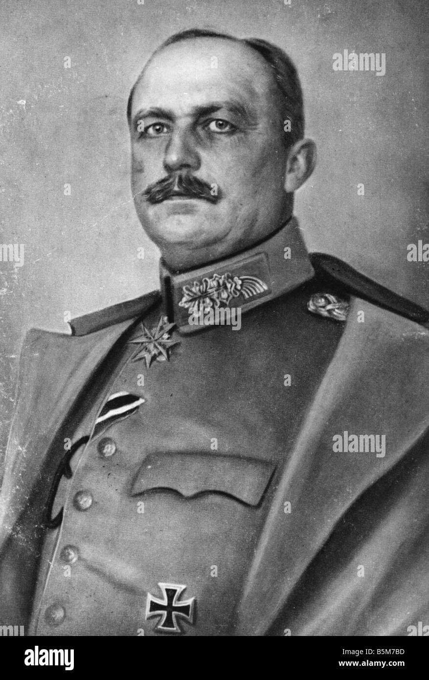 1 L67 A1916 E Ludendorff Colour lithograph 1916 Ludendorff Erich Prussian General as of 1916 1st quartermaster general - Stock Image