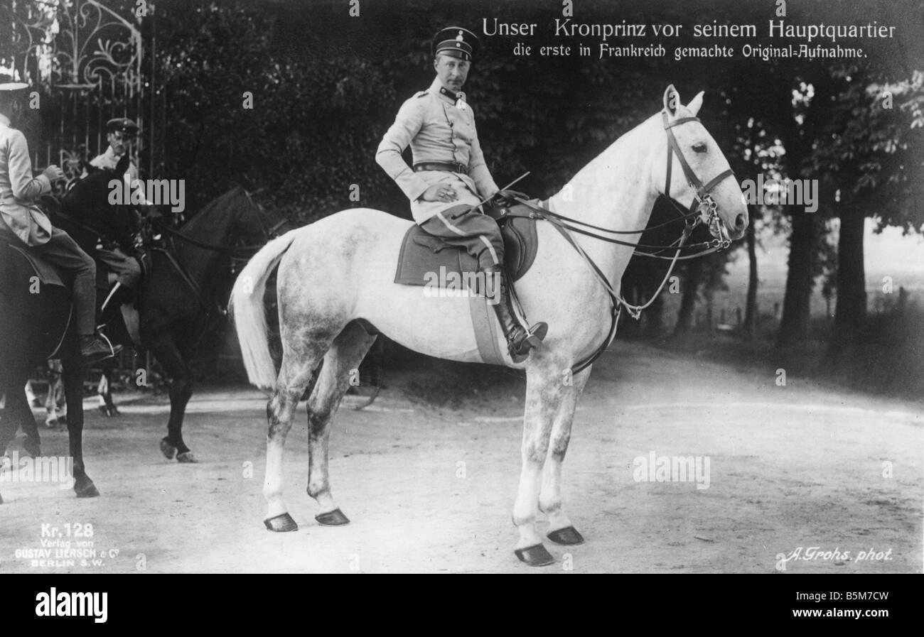 1 W265 F1914 20 E Crown Prince Wilhelm Headquarters 1914 Wilhelm Prince of Prussia and Crown Prince of German Empire - Stock Image